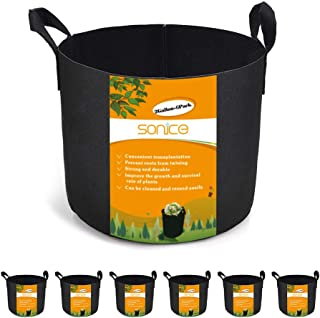 Sonice Set of 6 Pack 2 Gallons Grow Bags by, Aeration Fabric Pots With Handles