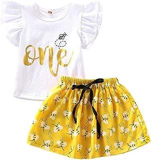 Baby Girls 1st Birthday Dress Flying Sleeve Wild One Tshirt/Romper Top and Honeybee Tutu Skirts 2PCS Outfits