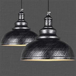 Lot de 2 Suspension Luminaire Industrielle Vintage Plafonnier en Métal Lustre Abat-jour 29cm E27 éclairage Lampe de plafon...