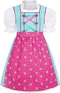 COALA Mädchen Kinderdirndl   3-teiliges Set   mit Dirndl-Bluse und Dirndl-Schürze   rosa pink, TÜRKIS/PINK,