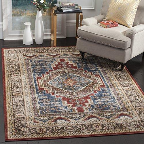 "Price comparison product image Safavieh Bijar Collection BIJ636B Traditional Oriental Distressed Area Rug,  6'7"" x 6'7"" Square"