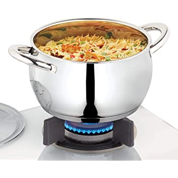 Borosil - Stainless Steel Handi Casserole with Lid, Impact Bonded Tri-Ply Bottom, 2.9 L, Silver