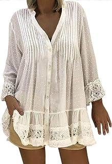 Tee Shirt Manche Longue Femme Weant Chemise Femme Blouse Col U Tops Blouse Casual Shirt Couleur Pure Dentelle Grande Taille Chemisiers et Blouses Femme