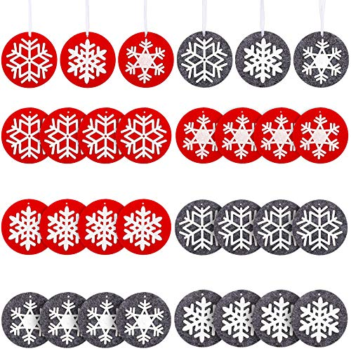 24 Pieces Christmas Felt Ornament Set Felted Snowflake Applique Christmas Ornaments Cute Hanging Ornaments for Christmas Tree Decorations