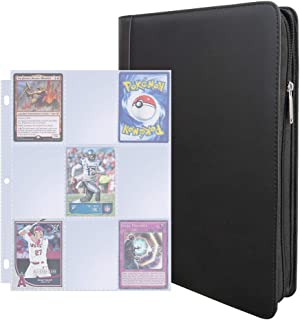 Toupeone Trading Card Binder with 30 9-Pocket Full Page Card Sleeves PU Leather Card Storage Binder with Zipper for Pokemo...