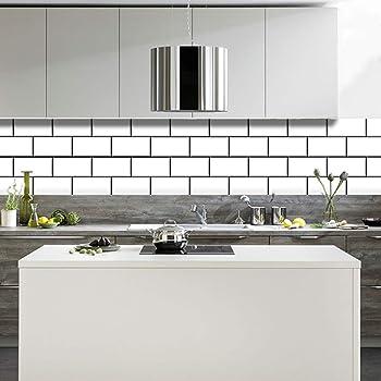 Amazon Com Bricka White Brick Tile Stickers 6x6 Inches Set 20 Units Premium Wallpaper Peel And Stick Backsplash Vinyl Backdrop Kitchen Bathroom Home Decor Home Kitchen