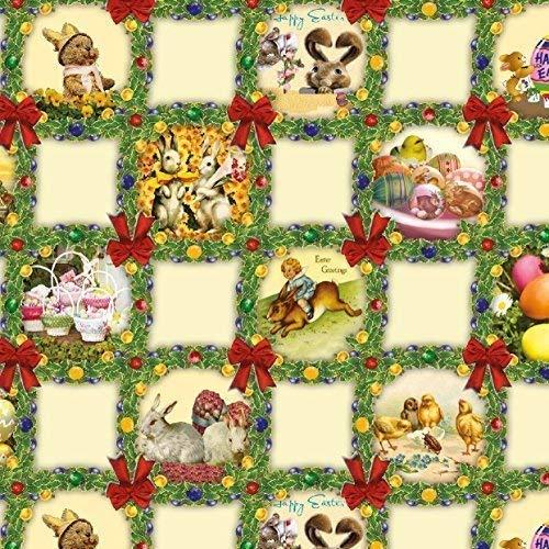 toile cirée nappe table au mètre Pâques Oeufs de paques lapin de Pâques Taille et DESSIN éligible en carré rond ( e), OVALE - k836-4, 140 x 250 cm oval