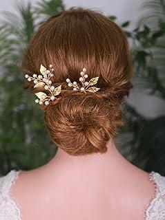 YERTTER Wedding Leaf Hair Pins Bridal Vintage Crystal Headpiece Women Pearl Hair Pins Bridal Hair Pins Wedding Hair Piece ...