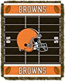 Officially Licensed NFL Cleveland Browns 'Field' Woven Jacquard Baby Throw Blanket, 36' x 46', Multi Color