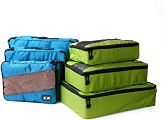 Packing Cubes System for Travel,6 Set Suitcase Organizer Premium Durable Travel Accessories(Blue/Green)