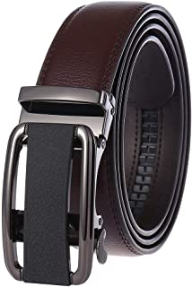 DIEBELLAU New Automatic Buckle Belt Men's Belt Two-Layer Cowhide (Color : Brown, Size : 110-130CM)