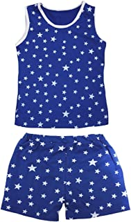 Petitebella Girls' Patriotic Stars Cotton Shirt Short Set