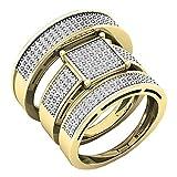 DazzlingRock Collection - Juego de Anillos de Compromiso para Hombre y Mujer de Oro Blanco de 10 Quilates con Diamantes Blancos de 0,62 Quilates