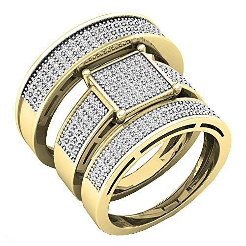 Dazzlingrock Collection Anillo de compromiso de oro de 10 quilates con diamante blanco de 0,62 quilates para hombre y mujer