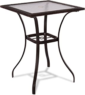 TANGKULA Patio Table Outdoor Garden Balcony Poolside Lawn Glass Top Steel Frame All Weather Dining Bistro Table (Mix Brown Square 28.5