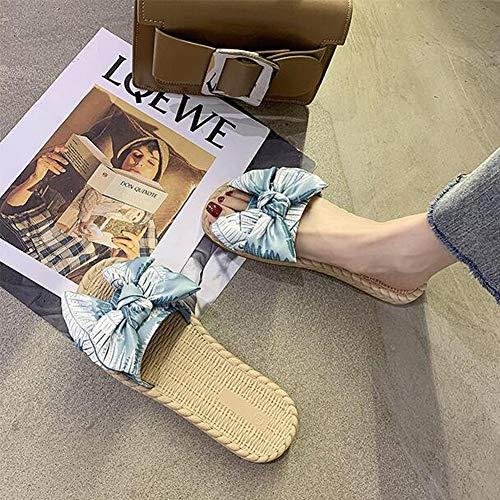 QTTC Zapatos De Mujer Sliper Verano Floral Sandalias De Playa Plataforma De Cuña Tangas Zapatillas ChanclasBlue-38