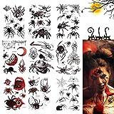 Wishstar Halloween Tatuaje Temporales, 9pcs Tatuajes Temporales Arañas, Arañas Telaraña Tatoos Stickers para Adultos Niños Halloween Mascarada de Carnaval Fiesta Cosplay