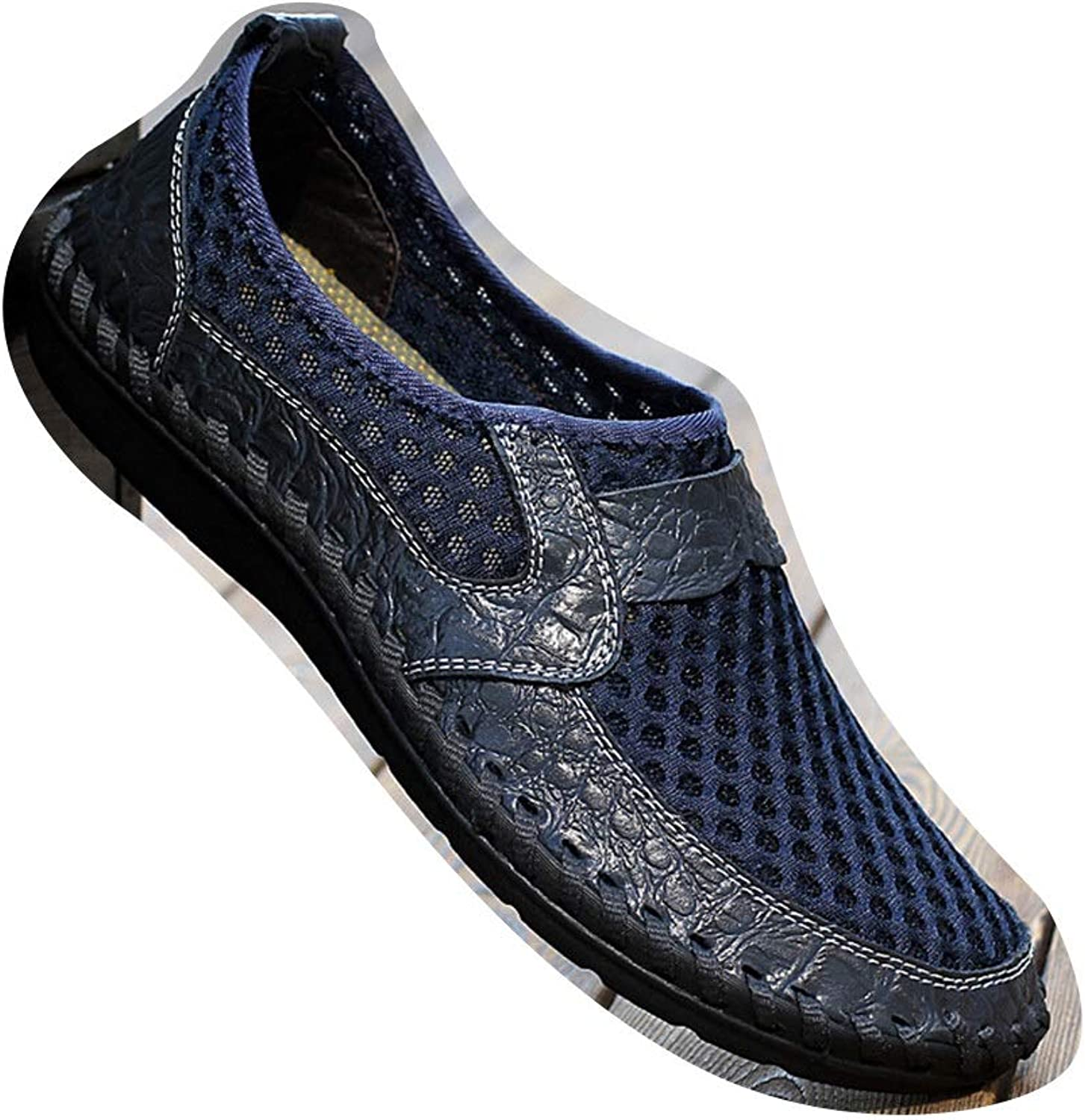 Easy Go Shopping Men's shoes, Breathable Sports shoes, Men's Leather Mesh shoes, Cricket shoes (color   bluee, Size   42)
