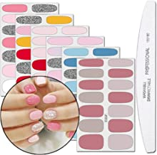WOKOTO 6 Pieces Self-Adhesive Nail Art Polish Stickers With 1Pc Nail File Solid Color Nail Wraps Decal Strips Manicure Kit For Women