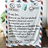 Jurllyshe Flannel Throw Blanket Personalized Custom Gift for Daughter or Son with Positive Encourage and Love Air Mail Letter Printed Blanket from Mom and Dad (Dad to Son, 50'x60')