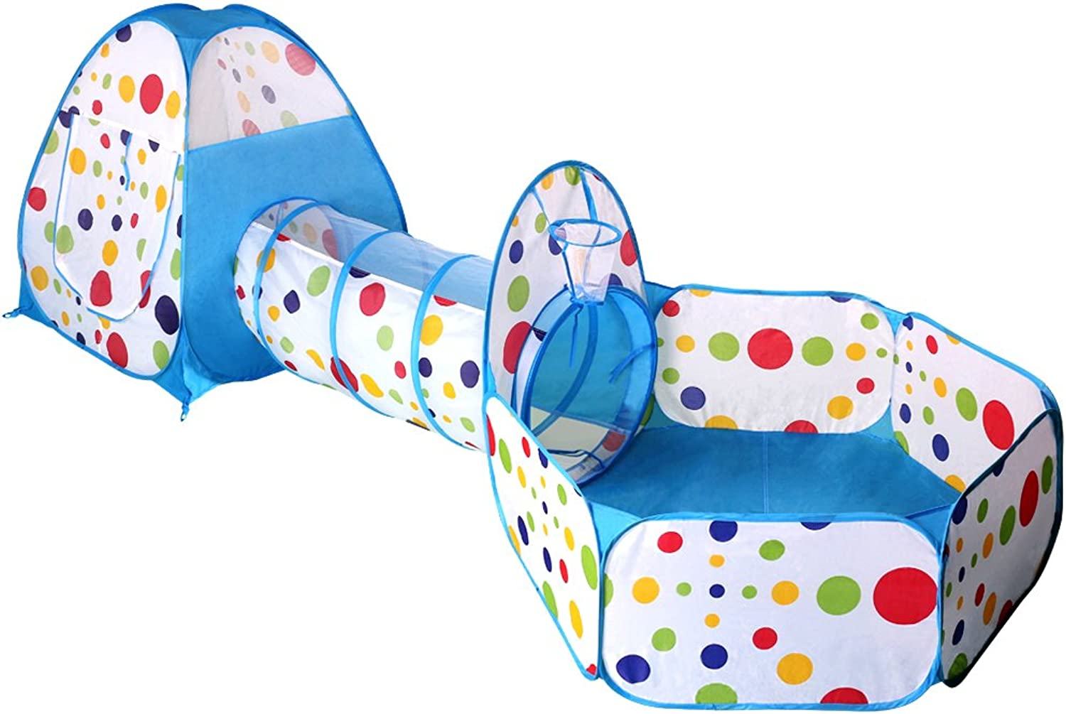EocuSun Pop up Polka Dot Kids Play Tent with Tunnel and Ball Pit with Zippered Storage Bag, bluee