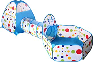 EocuSun Polka Dot 3-in-1 Folding Kids Play Tent with Tunnel, Ball Pit and Zippered Storage Bag (Blue)