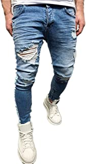 Mens Skinny Jeans Denim Jogger Pants Elastic Drawstring Slim Fit Pencil Stretch Washed Trousers
