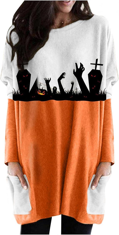 felwors Halloween Sweatshirt for Women, Womens Oversized Pumpkin Print Casual Long Sleeve Shirts with Pocket Tunic Tops