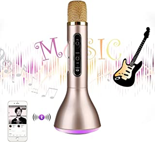 Mbuynow Wireless Karaoke Microphone, Kids Karaoke Machine Portable Handheld Mic for Home KTV Party Music Singing Playing, Support iPhone Android iOS Smartphone PC (Glod)