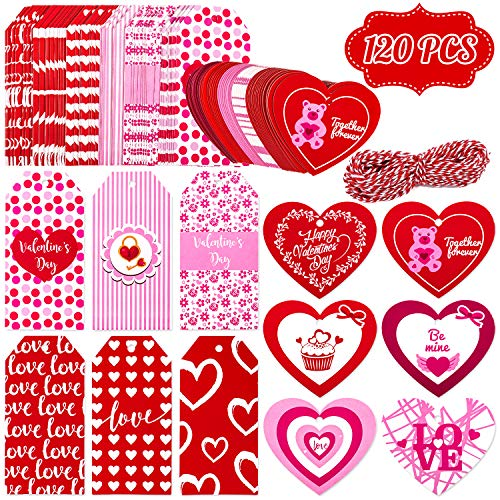 Whaline 120Pcs Valentine Paper Gift Tags, 12 Style Gift Tags, Rectangle Hang Tags and Heart Paper Labels with 20 Meters String for DIY Crafts, Wedding and Party Favor (Red, Pink)