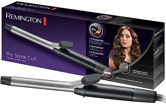 Oferta amazon: Remington Pro Spiral Curl CI5519 Rizador de pelo, Pinza de 19 mm, Cerámica y Titanio, Punta Fría, Digital, Negro