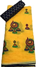 TRIPZIRA Women's Self Designed Chanderi Cotton Saree With Heavy Designed Work Blouse Piece