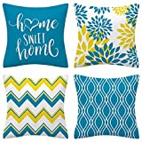 Drmstow Aqua Blue Throw Pillow Covers 18x18 Set of 4 Decorative Geometric Pillow Case Outdoor Sofa Pillow Cushion Covers for Couch Living Room Bed Patio Furniture Indoors Home Decor…