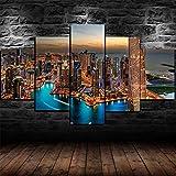 Cuadro En Lienzo 5 Pieza Pintura de mosaico del horizonte de la ciudad de Dubai Burj Khalifa Cuadros Impresión de Imagen Artística Lienzo Decorativo Para Tu Salón o Dormitorio Cuadro En Lienzo 5 Pieza
