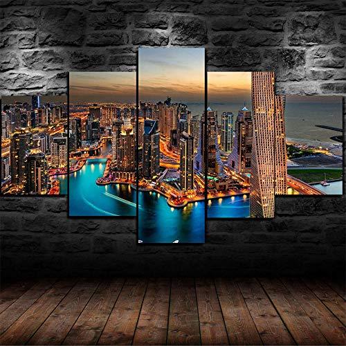 quadri moderni soggiorno dubai Gtart Multipannello Componibili Quadri Moderni Camera da Letto Stampa Quadro su Tela 5 Pezzi Quadri Soggiorno Grandi Arte Muraria Poster Burj Khalifa Skyline nella Città Dubai Artistiche
