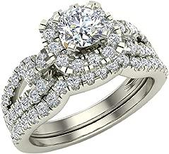 Wedding Ring Set for Women Accented Diamond Loop Shank 1.00-1.05 ctw Carat 14K Gold (G,SI)