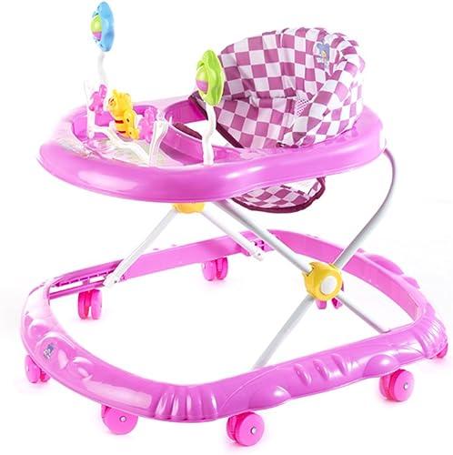 HAIZHEN Kinderwagen Baby Grün Rosa Gehhilfe 6-18 Monate Baby Anti-überschlag Multifunktion Zusammenklappbar Mit Musik Kind Wagen 66  56  57 cm Für Neugeborene (Farbe   Rosa)
