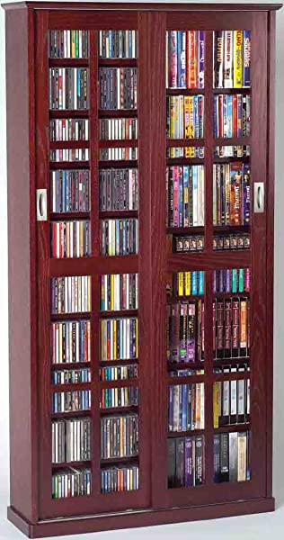 Leslie Dame MS 700DC Mission Multimedia DVD CD Storage Cabinet With Sliding Glass Doors Cherry