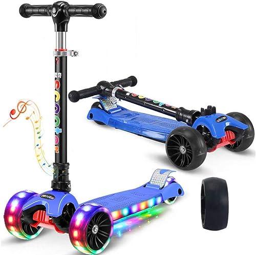 SSLHDDL Kinderroller Dreiradscooter mit LED Leuchtenden R r und 4 Stufen Einstellbare H  Doppel-Hinterrad Big Wheel für Kinder 3-12 Jahre alt