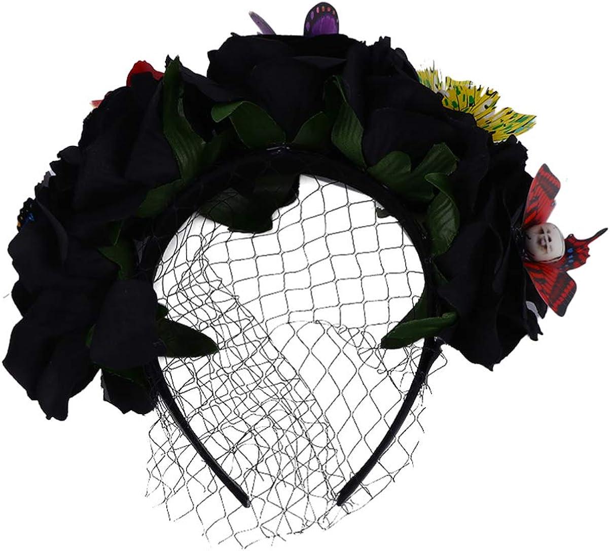 KESYOO Halloween Headpiece Witch Frida Flower Crown Halloween Cosplay Headband for Halloween Party Supplies