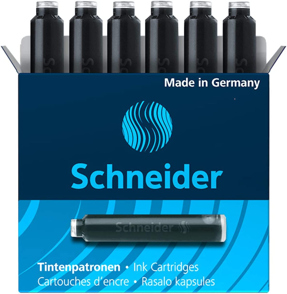 Schneider Fountain Pen Ink Cartridge 06601 Limited time sale Box of 6 Charlotte Mall Black