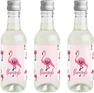 Pink Flamingo - Mini Wine and Champagne Bottle Label Stickers - Tropical Summer Party Favor Gift for Women and Men - Set of 16