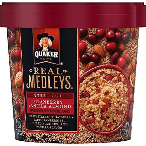 Quaker Real Medleys Steel Cut Oatmeal+, Cranberry Vanilla Almond, Oatmeal Cups, 12 Count
