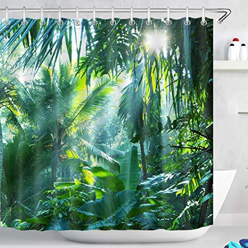 LB Bosque Verde Cortinas de Baño 240X200CM Follaje Tropical,Palmera,Hoja de plátano en la Selva Cortina de la Ducha con Ganchos,Extra Ancho Impermeable Antimoho Poliéster Decoración de Baño