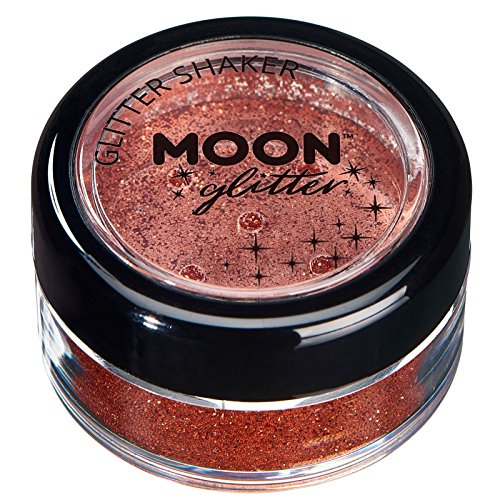 Secoueurs à paillettes fines par Moon Glitter (Paillette Lune) – 100% de paillettes cosmétique pour le visage, le corps, les ongles, les cheveux et les lèvres - 5g - Cuivre Bronze