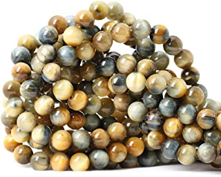 Qiwan 45PCS 8mm Natural Dream Tiger Eye Gemstone Round Loose Beads for Jewelry Making Findings/Accessories 1 Strand 15