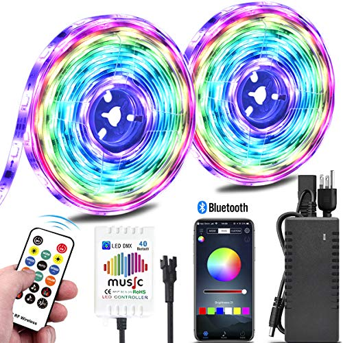 Color Chasing Music LED Strip Light Kit, 10M/32.8ft Rainbow Colors LED Tape Lights Bluetooth Smart Phone APP Timer & RF Remote Controlled Addressable RGB Waterproof LED Rope Lights for Indoor Bedroom
