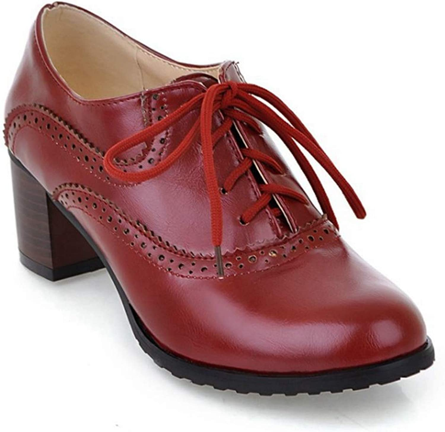 Women's Block Heel Oxfords Lace-up Pointd Toe Dress Pumps Loafers Vintage Handmade Platform shoes
