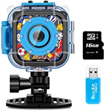 Kids Camera, iMoway Waterproof Video Cameras for Kids HD 1080P Kids Digital Cameras Camcorder with 16GB Memory Card, Card Reader and Floating Hand Grip (Blue)