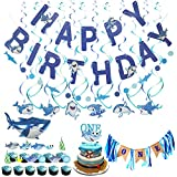 LOCCA Blue Baby Shark Party Supplies, 1st Birthday Boy Decorations Kit for Cake Smash Backdrop,...